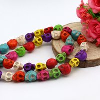 Wholesale Red Oval Gemstone - Wholesale Fashion Mixed Color Skull Beads All Size Turquoise Gemstone Loose Beads Fit Shamballa Bracelet Necklace
