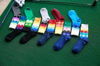 Wholesale Diamond Huf - 10Pairs multicolor men diamond socks ribbed shaped cotton high quality hot rhombus socks