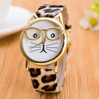 Wholesale Wholesale Leopard Watches - Women Leopard grain watches cat glasses printing leather watch ladies quartz wrist watches Fashion dress watch New gift wristwatch 8 Colors
