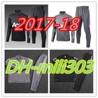 Wholesale Football Training Kits - 2017 2018 Man Utd Survetement POGBA football tracksuit training kits Soccer Chandal 17 18 LUKAKU united jscket training pant sweater suit