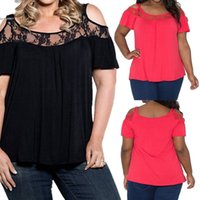Wholesale Off Shoulder Shirt Lace - Large 6XL Fashion womens t shirt short sleeve Plus Size Irregular Lace Patchwork T-Shirt Blouse O-Neck Off Shoulder Ladies Clothing