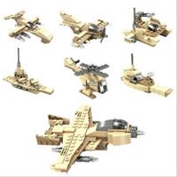 Wholesale Wholesale Plastic Model Airplanes - Building Blocks Army DIY Bricks Fighter Airplane Aircraft Model Gift For Children For Children Birthday YH532