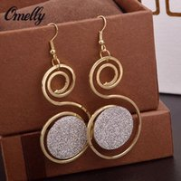 Unique Golden Circles 18K GP Dangle Ear Brinco Hollow Out Party Wedding Jewelry para Lay Girls Preço barato