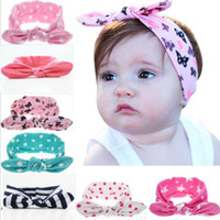 Wholesale Turban Twist Headwrap - 20pcs girl baby wave point cotton Turban Twist unicorn horn Headband Head wrap Twisted Knot Soft Hair band Headbands Headwrap FD6521