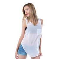Wholesale White Sheer Blouse Xl - Sexy Woman Sheer Transparent Blouses New 2017 Summer Thin Tops Fashion Women Chiffon Blouse Shirts Sleeveless White Black Pink