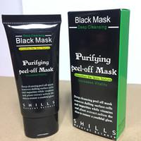 siyah başlı çamur toptan satış-SHILLS Siyah Maske Siyah Nokta Remover Burun Gözenek Yüz Maskesi Derin Bakım Temizleme Çamur Maskesi Arındırıcı Peel Akne Tedavisi Siyah Heads Remover