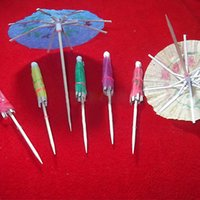 Vente en gros- Boutique 50x / lot Wedding Cocktail Drinks Party Sticks Paper Parasol Umbrella