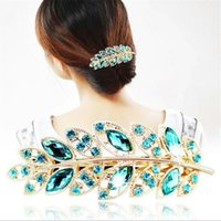 spring band clamps - Factory price Crystal diamonds Hair foliage hairpin Metal Claw women hair accessory Crystal Spring Clamps Jewelry gifts