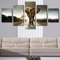 Wholesale Giant Animals Pictures - 5p Giant Elephant Painting Oil Canvas Print Unframed Wall Art Picture Home Living Room Wall Decor Modern Canvas Artwork