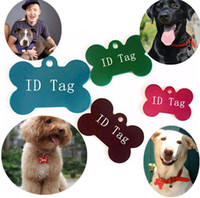 Wholesale dog id name tags resale online - 100 Mixed Colors Dog Tag Double Sides Bone Shaped Personalized Dog ID Tags Customized Cat Pet ID Tags Name Phone No ID Card I086
