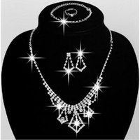 Wholesale Rhinestone Wedding Jewellery - 2017 Shinning Wedding Jewellery Rhinestone Necklace Set Wedding Earrings Chain Bridal Accessories In Stock Prom Party Jewelry Sets