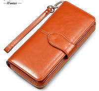 Wholesale Oil Credit Cards - Oil Wax Cowhide Leather Women Wallet Phone Pocket Purse Wallet Female Card Holder Lady Clutch Carteira Feminina
