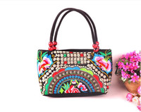 Wholesale Hmong Embroidery - Wholesale- Top-quality Vintage Hmong Tribal Ethnic Boho Hot Lady shoulder Handbag Women's bag linen embroidery Handbags Tapestry