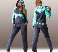 Wholesale Casual Pants Set For Women - Sports Suit Jogging Suits For Women Letter vs Pink Print Sport Suit Hoodies Sweatshirt +Pant Jogging Sportswear Costume 2 piece Set