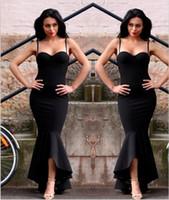 Wholesale Low Back Club Dress - 2018 Black Mermaid High Low Dresses Evening Wear Sweetheart Spaghetti Straps Long Prom Pageant Gowns Women Formal Wear