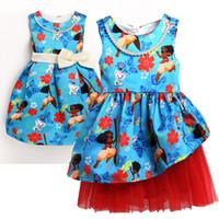 Wholesale Dream Kids Clothes - 2017 Print Dream Tropical Ocean Dress Moana Dresses Infant Baby Girls Clothing Costume Children Party Kids Princess Dress