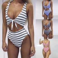 Wholesale woman swim costume for sale - Straps Bikini Women Swimming Costume Striped Swimsuit Stripe bow Swimwear Push Up Bikini Sets