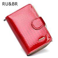 Wholesale Wallet Painting - Wholesale- RU&BR Coat Of Paint Womens Wallet New Fashion Purse Women's Cowhide Clutch Zipper Credit Cion Pocket Card Holder Genuine Leather