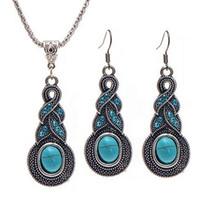 patrones para collares al por mayor-Conjunto bohemio de joyería Patrón Retro Joyas de cristal azul Turquesa Collar Aretes Conjunto de joyas Mujer Envío gratis