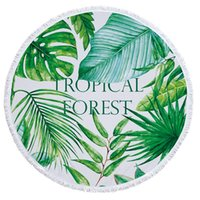Wholesale Hot Children Mat - Hot 150CM Tropical Forest Large Microfiber Round Beach Towel with Tassel Plant Bath Towel Camping Yoga Mat Picnic Blanket Throw Tablecloth