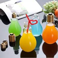 Wholesale Tea Desk - Light Bulb Shape Tea Fruit Juice Drink Water Bottle Cup Plant Flower Glass Vase Home Office Desk Decoration