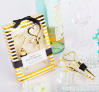 Wholesale Groom Bride Stoppers - Wholesale-NEW Gold Color Bride and Groom Bottle Stopper and Opener Two Hearts Wine Favor Set Wedding Favor Wedding Souvenirs 6boxes=12pcs