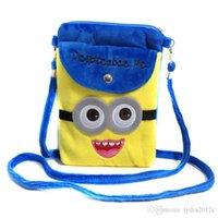Wholesale Despicable Plush Bags - 2 Pieces Lot 2017 Unisex Children Messenger Bag Despicable Plush Crossbody bags for Kids Cute Lovely Cartoon Cell phone Bag