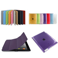 Wholesale Ipad Crystal Slim - Wholesale-Ultra Slim Magnetic Flip Stand Design PU Leather Smart Fundas Case For Ipad 4 3 2 With Crystal Hard PC Case Sleep Function