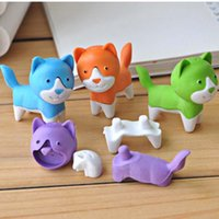 Wholesale Wholesale Cleansing Supplies - 10pcs Lot Cartoon Dog Shape Mini Animal Rubber Eraser Cleansing Stationery Child Gift Toy Cute Eraser School Office Supplies