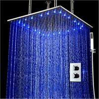 teto de aço inoxidável escovado venda por atacado-Levou chuveiro termostática conjunto de 20