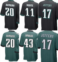Wholesale Black Eagle Order - Youth Kids Jersey#11 Carson Wentz 17 Alshon Jeffery 20 Brian Dawkins Cheap#43 Darren Sproles Eagle Jersey New Green White Mix Order