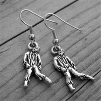 Wholesale American Walk - 10pairs Silver Zombie Earrings Zombie Jewelry Gothic Goth Horror Movie Undead The Walking Dead The Living Dead