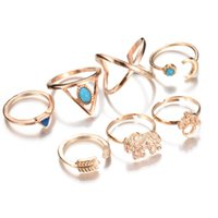Wholesale Wholesale Lucky Ring Stone - Cluster Rings Bohemian Style 7pcs lot Vintage Anti Gold Silver Rings Geometric Blue Stone Elephant Moon Arrow Lucky Rings Set for Women