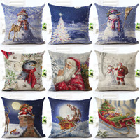 """Wholesale Blue Pillow Covers 18 - 18"""" Merry Christmas Series Cushion Cover Santa Claus Christmas Tree Christmas Gifts And Snowman Printing Throw Pillow Pillowcase"""