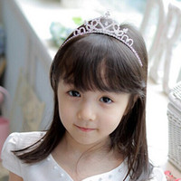 Wholesale Baby Headbands Crystal - Baby Girls Princess Hairband Child Party Bridal Crown Headband Crystal Diamond Tiara Hair Hoop Hair bands Accessories