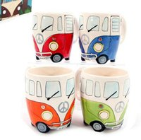 Lens painting coffee mugs - Cartoon Double Decker Bus Mugs Hand Painting Retro Ceramic Cup Coffee Milk Tea Mug Drinkware Novetly Gifts
