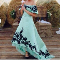 Wholesale Aqua Blue Lace Evening Dresses - 2017 High Low Prom Dresses Saudi Arabia Dubai Black Lace Appliques Short Sleeves Party Dress Off the Shoulder Aqua Blue Evening Gowns