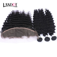 Wholesale Deep Wave Frontal Lace Closure - Brazilian Deep Wave Curly Virgin Hair Weaves With Lace Frontal Closure 3 Bundles Peruvian Indian Malaysian Cambodian Human Hair Add Closures