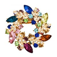 Wholesale Silk Scarf Clips - Wholesale- 1 Pcs Crystal Rhinestone Gold Plated colour Flower Brooch Pins Jewelry scarves clip silk holder buckle for Women wedding party