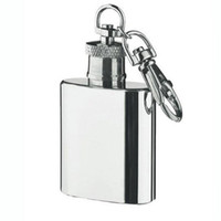 Wholesale Keychain Flask Wholesale - Wholesale- 1oz 28ml Mini Stainless Steel Hip Flask Alcohol Flagon with Keychain E0Xc high quality Silver Tone Key Chain Flask drop shipping