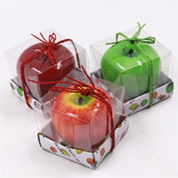 Wholesale Apple Candle Favors - Apple Candle Paraffin Wax Home Romantic Party Decorations Scented Candles Birthday Christmas Wedding Favors Gifts Ornament with Box