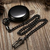 Wholesale-Plain Polished Black Watch Antique Hommes Femmes Xmas Gift Pocket Watch Antique Free P200C