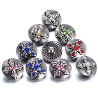 Wholesale Gift Sets Necklace Cross - 10pcs lot New Arrival 12mm snap jewelry buttons Rhinestone Style Cross Snap Fit 12mm Snap bracelet Necklace Mini buttons