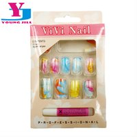 Wholesale Fake Nails Girls - Wholesale-Full Cover Nails UV Gel False Fake Art Nail Tips Fashion Colorful Faux Ongels 12 Pieces Set With Glue Summer Lovers Girl  Women