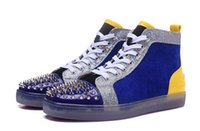 Discount spike rivet black - Luxury Blue Suede With Spikes rivets red bottom sneakers high top camo Lovers Designer Genuine Leather flats bottoms shoes for men women