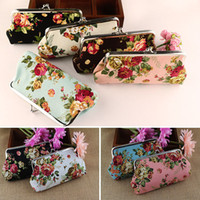 Wholesale Embroidered Flower Bag - Creative Vintage Flower Long Coin Purse Canvas Key Holder Wallet Hasp Buckles Small Gifts Bag Clutch Handbag Bank Card Casual Bag WX-W18