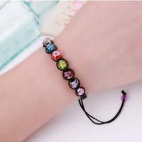 hermosos tejidos al por mayor-Gorgeous Crystal Beads Bracelets Nylon Cord Woven Bracelets Gifts For Girls Envoltura Ajustable Multi Color Charm Bracelets