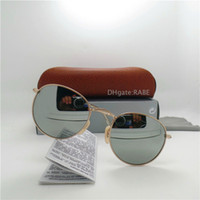 Wholesale Eyewear Glasses Case - Classic Sunglasses For Women Glass Lens Sun Glasses High Quality Men Round Eyewear Shade UV400 Unisex Circle Sun Glasses With Cases Box