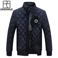 Wholesale New Korean Down Jacket - Wholesale- Winter Jacket Men 2016 New Autumn Men's Casual Cotton Quilted Jackets Korean Slim Fit Fashion Stand Collar Solid Warm Coats M414