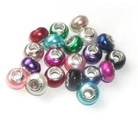 cuentas de agujero grande colores mezclados al por mayor-A estrenar 100 unids colores de la mezcla del ABS perla de imitación de 925 núcleo con textura gran agujero granos sueltos fit joyería pandora europea Diy pulsera encantos